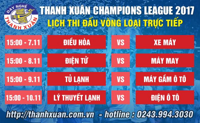 Bốc Thăm chia bảng THANH XUÂN Champions League 2017